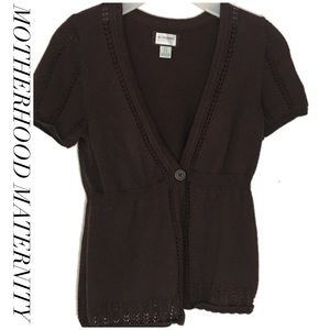 Motherhood maternity brown one button sweater M